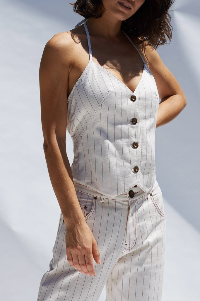 Ochre Pinstripe Sandra Halter Vest Shirts + tops Ethical Sustainable Vegan Organic Australian fashion womens clothes