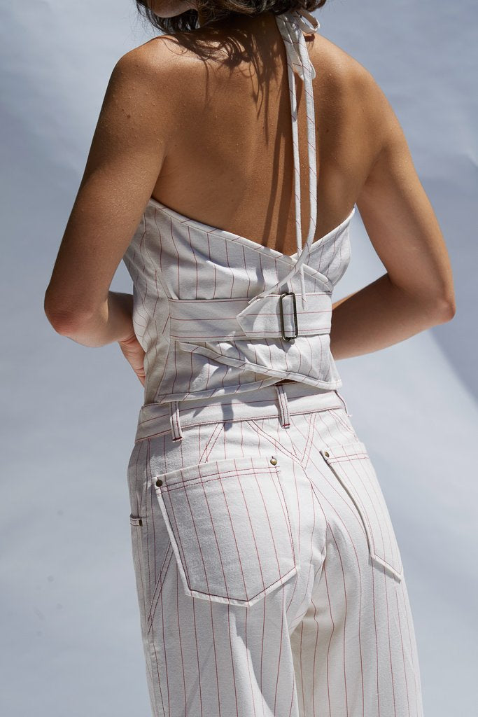 Ochre Pinstripe Sandra Halter Vest Shirts + tops The Fashion Advocate ethical Australian fashion designer boutique Melbourne sustainable clothes