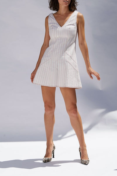 Ochre Pinstripe Luce Mini Dress