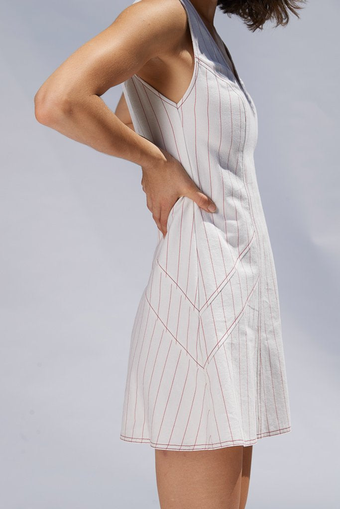 Ochre Pinstripe Luce Mini Dress Dresses Ethical Sustainable Vegan Organic Australian fashion womens clothes