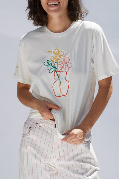 Hibiscus Embroidered Organic Cotton Unisex T-shirt Shirts + tops The Fashion Advocate ethical Australian fashion designer boutique Melbourne sustainable clothes