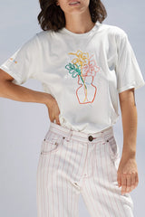 Hibiscus Embroidered Organic Cotton Unisex T-shirt Shirts + tops Ethical Sustainable Vegan Organic Australian fashion womens clothes
