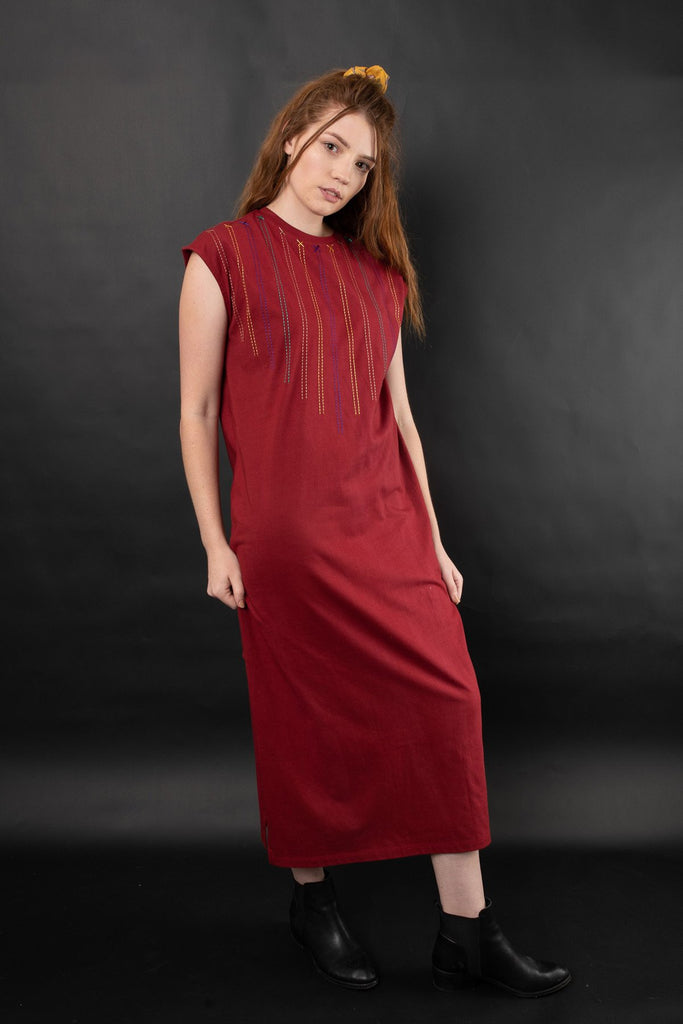 Terra Embroidered Knit Maxi Dress Dresses Ethical Sustainable Vegan Organic Australian fashion womens clothes