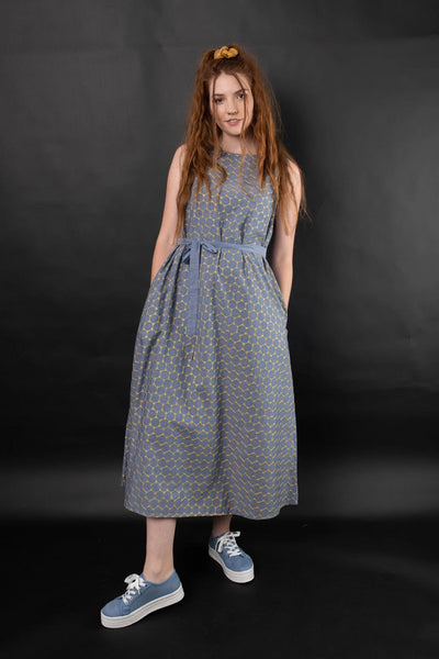 Liana Embroidered Chambray Dress Yellow Dresses The Fashion Advocate ethical Australian fashion designer boutique Melbourne sustainable clothes