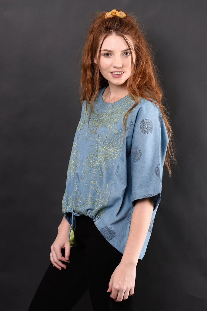 MADISSON EMBROIDERED DENIM TOP TOP Ethical Sustainable Vegan Organic Australian fashion womens clothes
