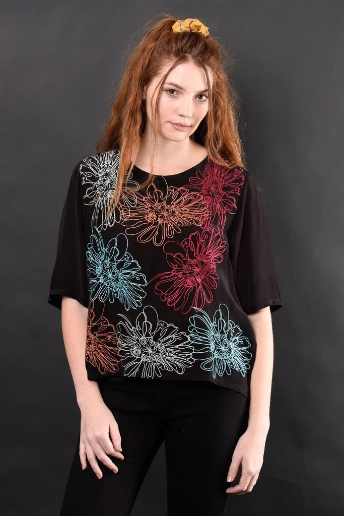 CARMEN FLORAL EMBROIDERED TOP TOP Ethical Sustainable Vegan Organic Australian fashion womens clothes