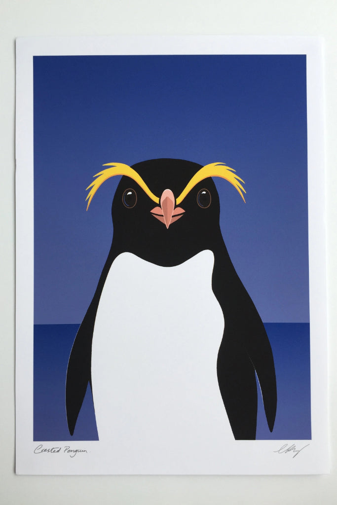Crested Penguin Print Art + prints Ethical Sustainable Vegan Organic Australian fashion womens clothes
