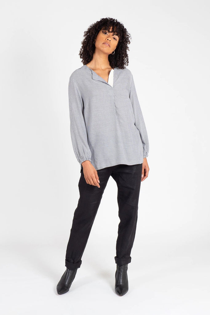 Navy and White Henley Neck Top