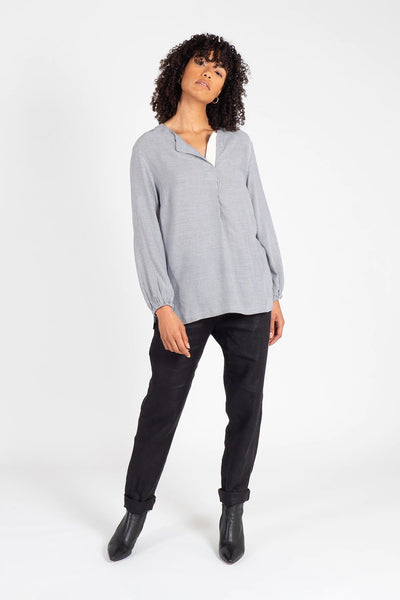 Navy and White Henley Neck Top Shirts + tops The Fashion Advocate ethical Australian fashion designer boutique Melbourne sustainable clothes