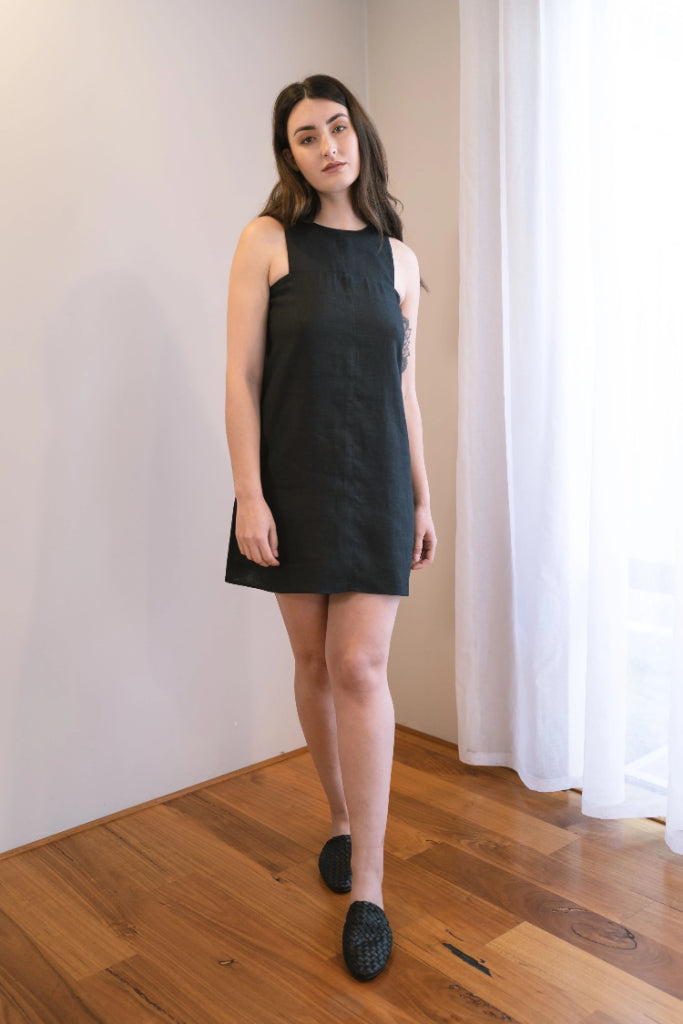 Nickie Black Linen Dress