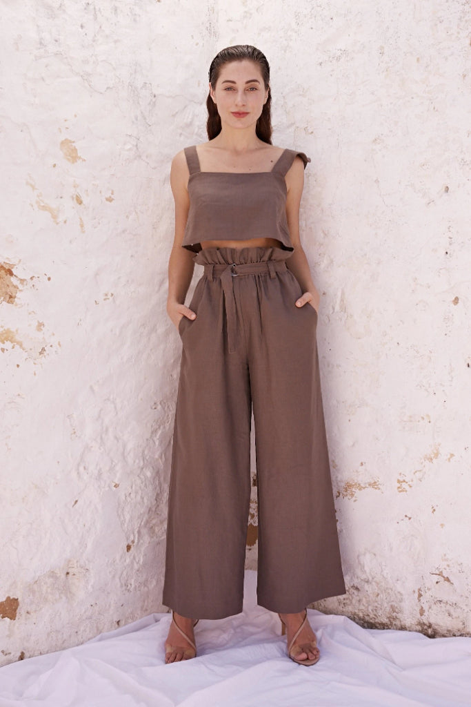 Monika Brown Linen Pant