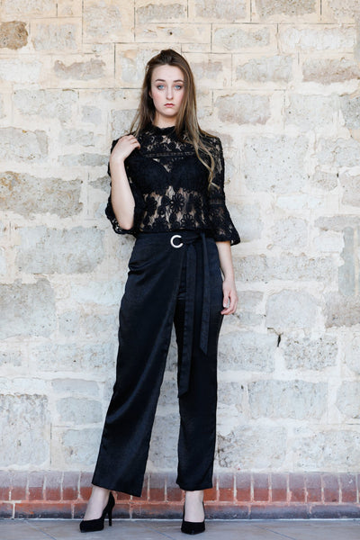 Eyelet Detail Straight Leg Wrap pants