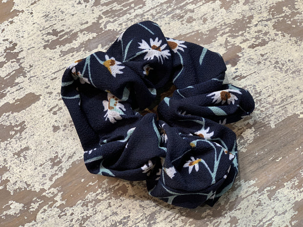 069 CLT Floral Scrunchies (Navy/Teal)