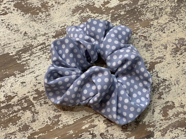 069 CLT Polka Dots Scrunchies (Blue)