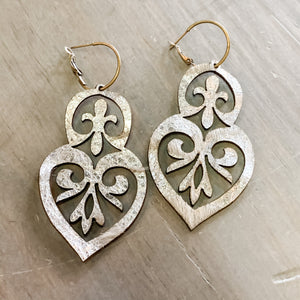 Double Heart Leather Earrings - Metallic Silver