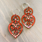 Load image into Gallery viewer, Double Heart Leather Earrings - Burgundy with Swarovski Crystals