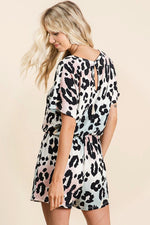 Load image into Gallery viewer, Graduation Leopard Romper (Side)
