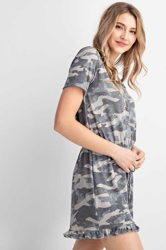 Camo Knit Button Up Romper (Side)