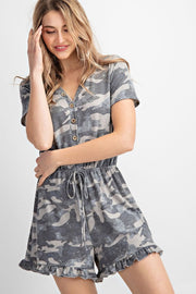 Camo Knit Button Up Romper (Front)