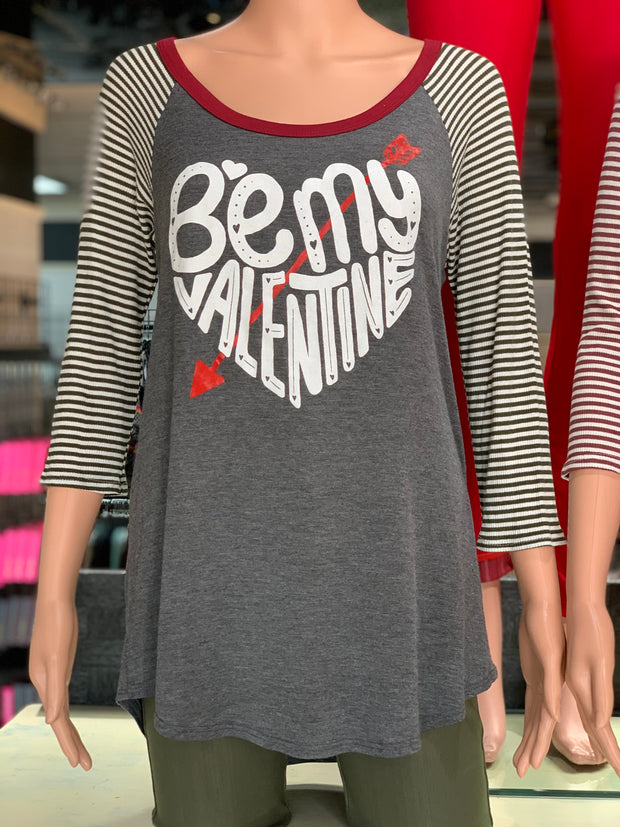 Be Mine Valentine Striped Raglan (Charcoal)