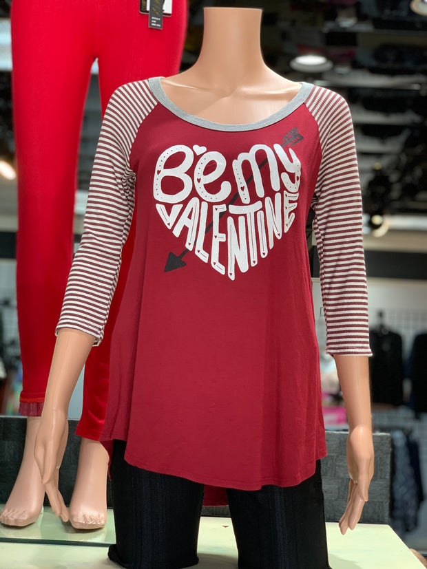 Be Mine Valentine Striped Raglan (Red)