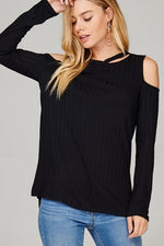 Load image into Gallery viewer, Ribbed Cold Shoulder Top (Closeup Front)