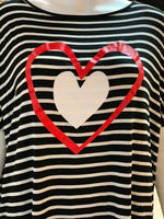 Load image into Gallery viewer, Double Heart Striped Top (Closeup)