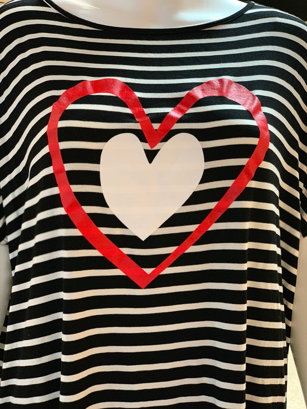 AG SS Double Heart Striped Top (Closeup)
