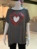 Load image into Gallery viewer, Double Heart Striped Top (Front)