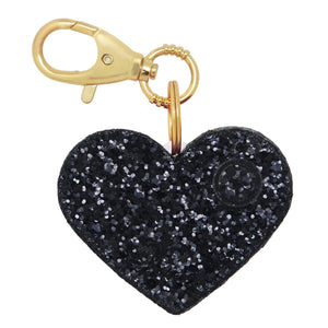 Personal Security Alarm - Glitter Heart (Black FRONT)