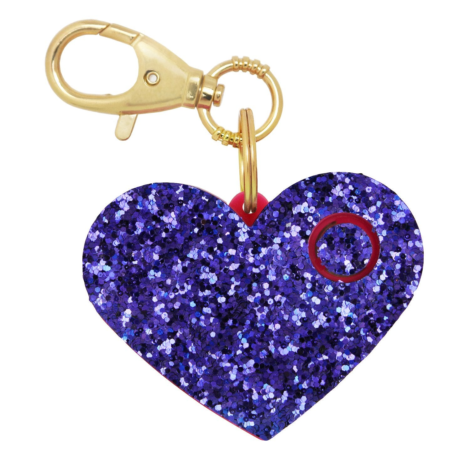 Personal Security Alarm - Glitter Heart (Purple FRONT)