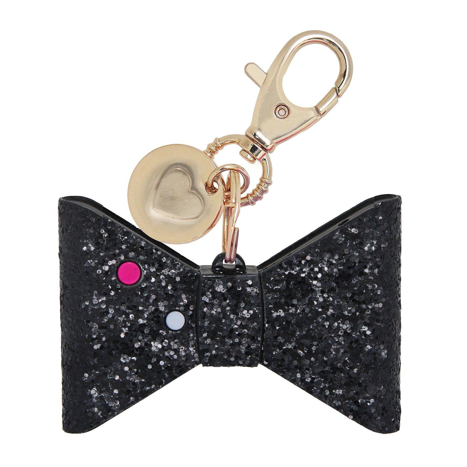 Personal Security Alarm - Glitter Bow (Black BACK)