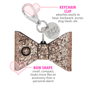 Personal Security Alarm - Glitter Bow (Rose Gold DETAILS)