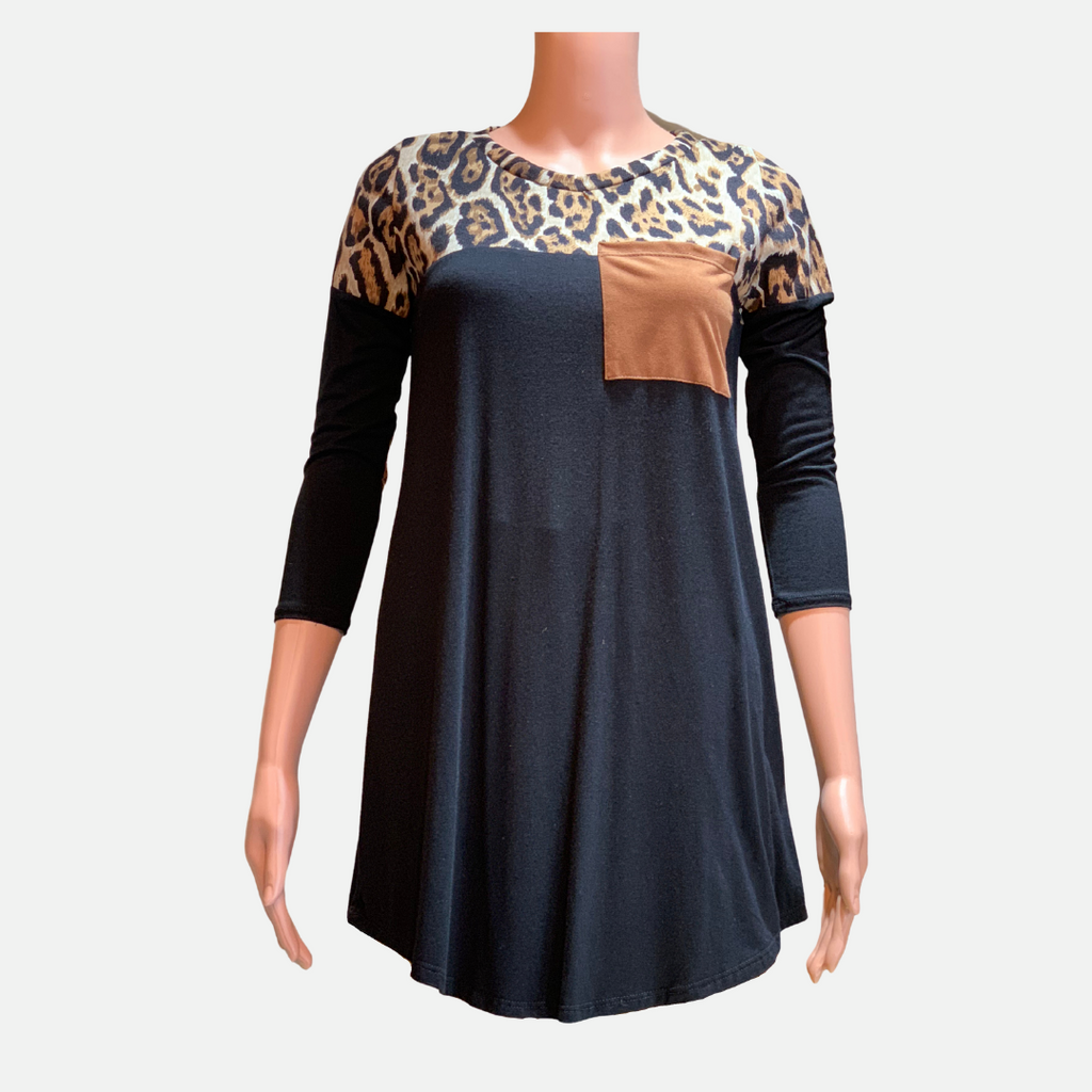 Animal Contrast Elbow Patch Top (Main)