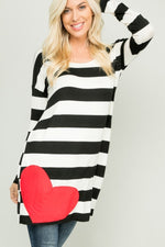 Load image into Gallery viewer, Stripe Heart Patch Tunic - Model (FRONT)