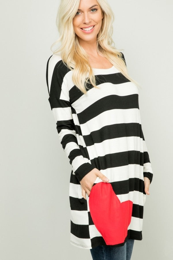 CZN LS Stripe Heart Patch Tunic (Model Side)