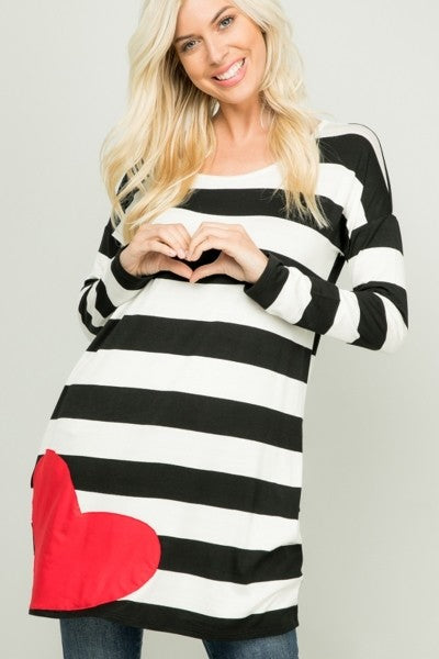 CZN LS Stripe Heart Patch Tunic (Model Front)