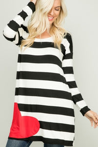 Stripe Heart Patch Tunic - Model (FRONT)