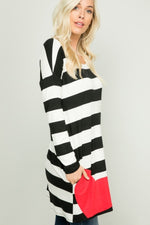 Load image into Gallery viewer, Stripe Heart Patch Tunic - Model (SIDE)