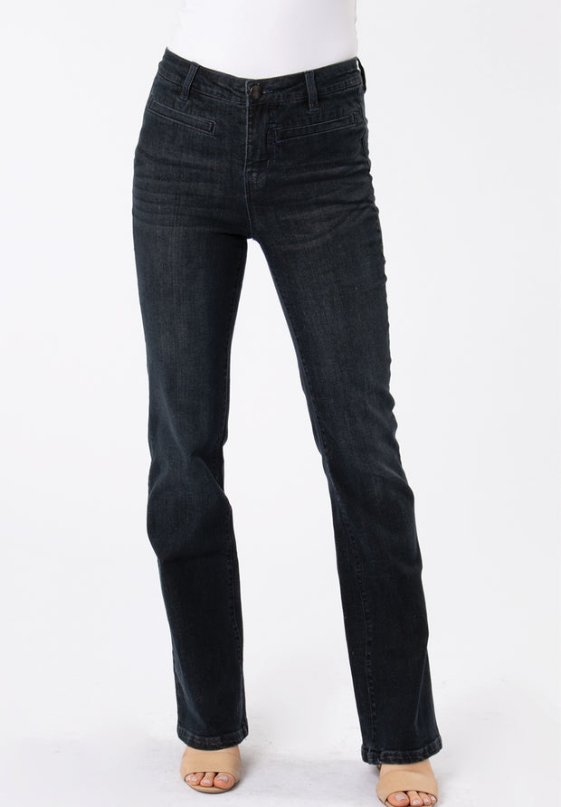 Boot Cut Jeans - Dark Wash Denim (Front)
