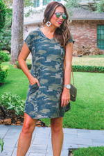 Load image into Gallery viewer, Cassie Camo Pocket Dress (Jess)