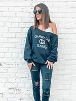 "Load image into Gallery viewer, ""Champagne Gang"" Off Shoulder Sweatshirt (Front)"