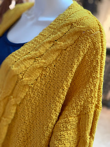 Chenille Cable Knit Cardigan (Closeup Shoulder)