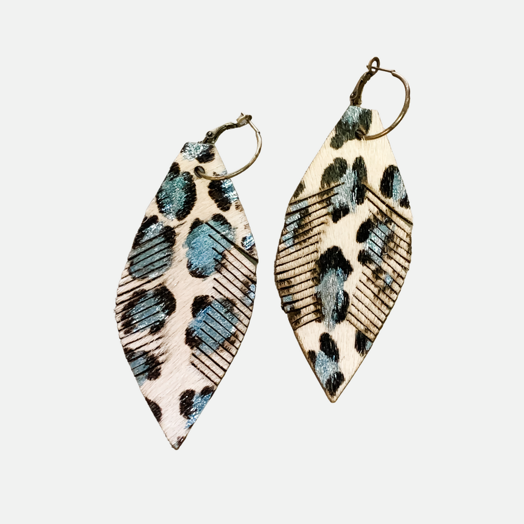 Cowhide Oversized Feather Earrings BGL (Main)