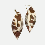 Load image into Gallery viewer, Cowhide Oversized Feather Earrings BTAP (Main)