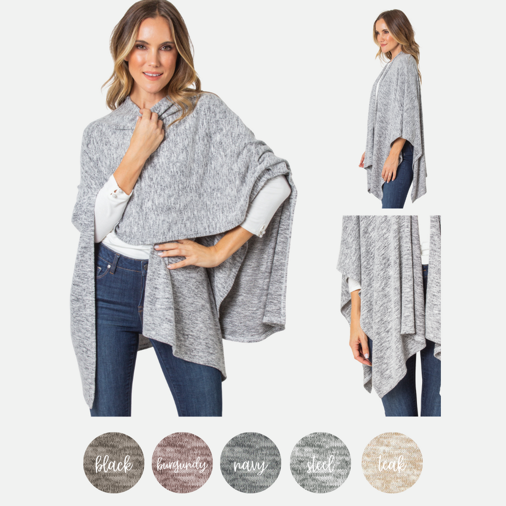Cozy Heathered Bordeaux Wrap (Main)