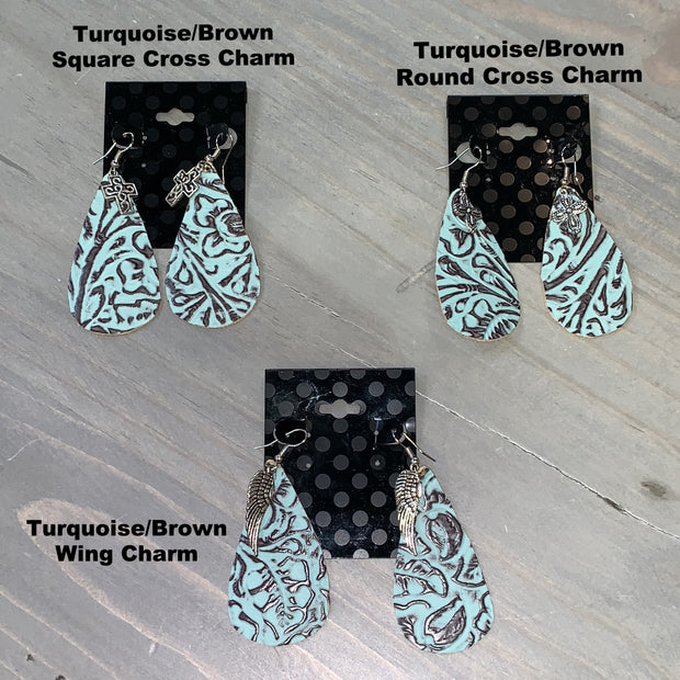 Embossed Leather Teardrop Earrings (Turquoise/Brown with Charm)
