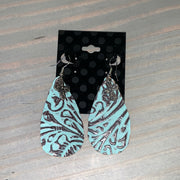 Embossed Leather Teardrop Earrings (Turquoise/Brown with Round Cross Charm)