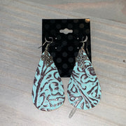 Embossed Leather Teardrop Earrings (Turquoise/Brown with Square Cross Charm)