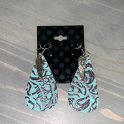 Embossed Leather Teardrop Earrings (Turquoise/Brown with Wing Charm)